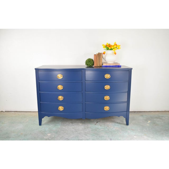 Boho Chic 19th Century Boho Chic Bassett Navy Blue Lacquer and Gold Dresser For Sale - Image 3 of 11