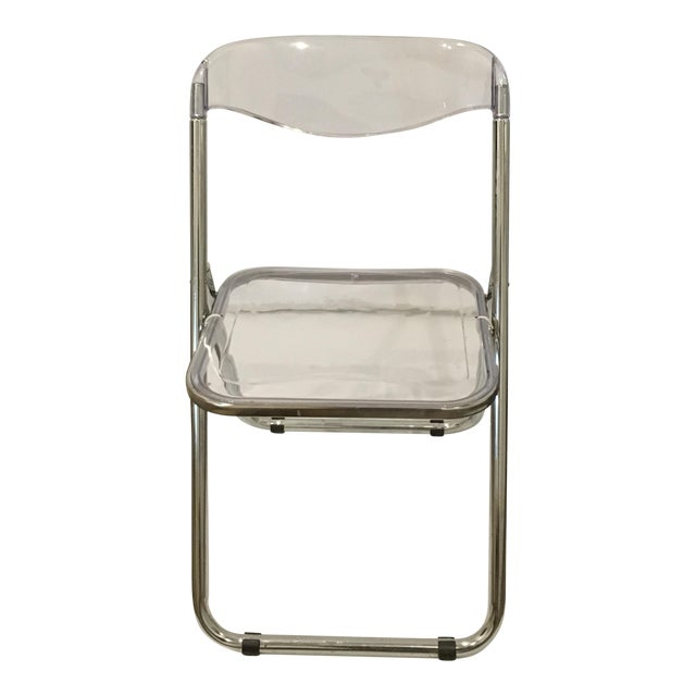 Mid Century Modern set of Six Lucite and Metal Folding Chairs - Image 2 of 7
