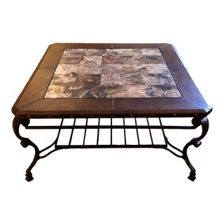 Rustic Square Leather and Marble Topped Wrought Iron Coffee Table For Sale