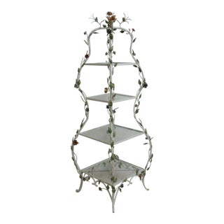 Three Tiered Iron Floral Painted Shelf Stand Display