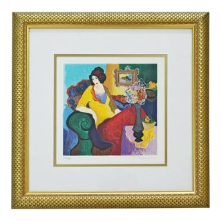 Mid Century Modern Tarkay Seated Lady 278/350 Serigraph Signed & Framed For Sale