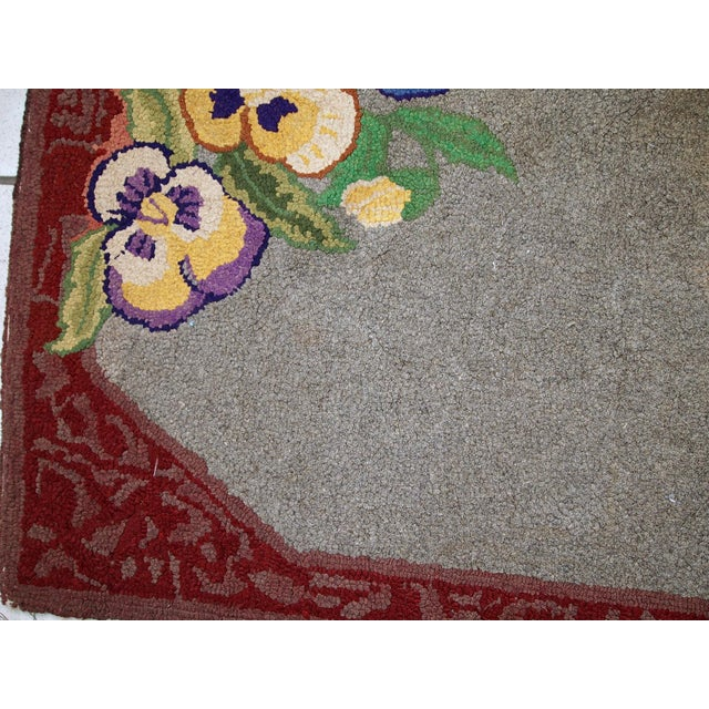 """Americana 1920s Antique American Hooked Rug - 2' X 3'3"""" For Sale - Image 3 of 10"""