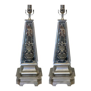 Silvered & Engraved Mirror Obelisk Lamps - A Pair