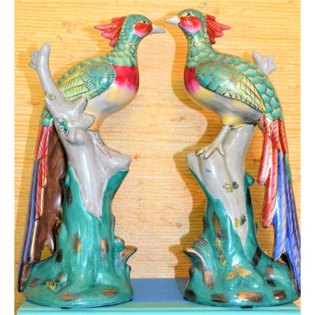 This is a beautiful pair of pheasant or phoenix porcelain Chinese Export figurines. The detail on the birds is incredible....
