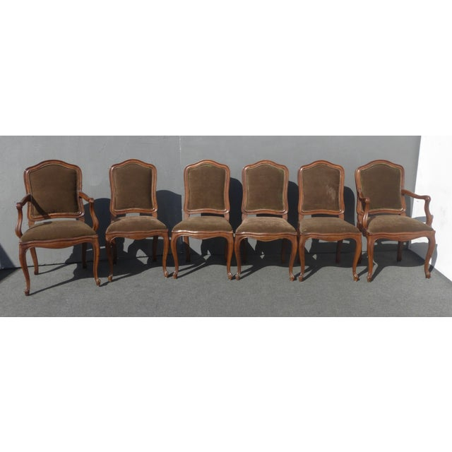 French Henredon Mohair Dining Chairs - Set of 6 - Image 2 of 11