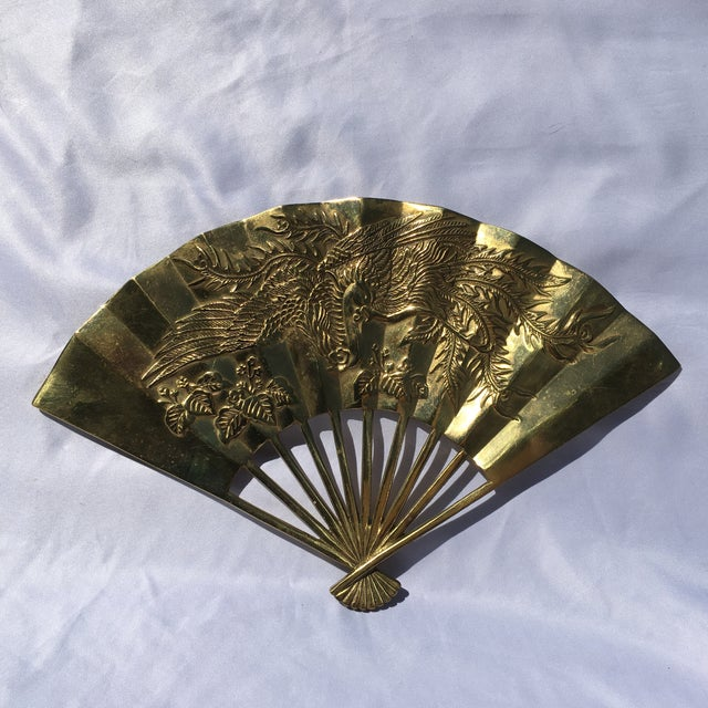 Vintage Brass Chinoiserie Wall Hanging Fan Art - Image 8 of 8