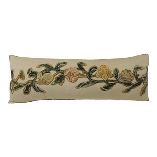 19th Century Applique Wool-On-Wool Embroidery Long Bolster Pillow For Sale