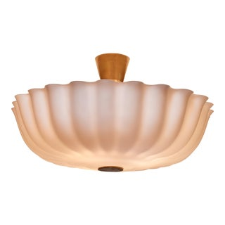 Large Opaline Glass Flush Mount, Sweden, 1940s
