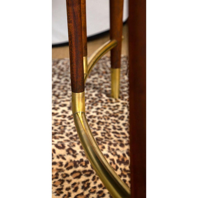 Gold Bert England for Johnson Furniture Walnut Dining Table With 3 Leaves For Sale - Image 8 of 9