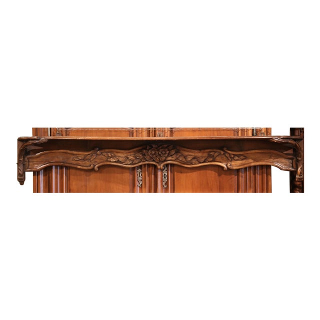 19th Century French Carved Walnut Hanging Decorative Shelf From Normandy For Sale