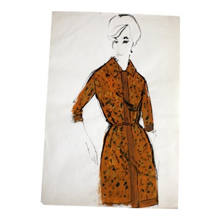 Vintage Mid-Century French Fashion Sketch For Sale