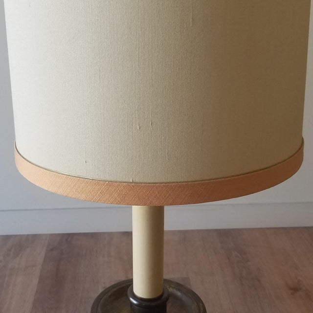 Metal Frederick Cooper Mid 20th Century Bronze Table Lamps With Original Shades - a Pair For Sale - Image 7 of 12