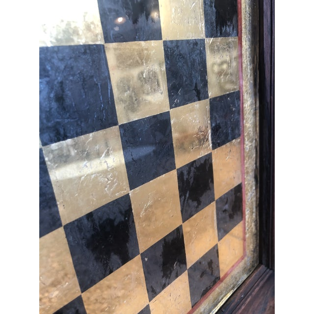 Early 20th Century Reverse Painted Gold Foil Checkers/Chess Game Board For Sale In Seattle - Image 6 of 7