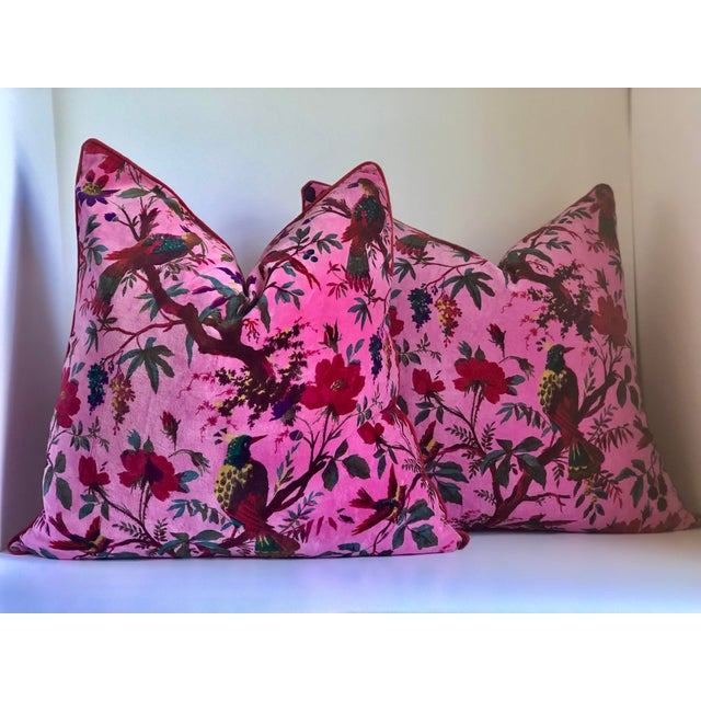 "2010s 24"" Custom Chinoiserie Cotton Velvet Fabric Pillow- a Pair For Sale - Image 5 of 5"