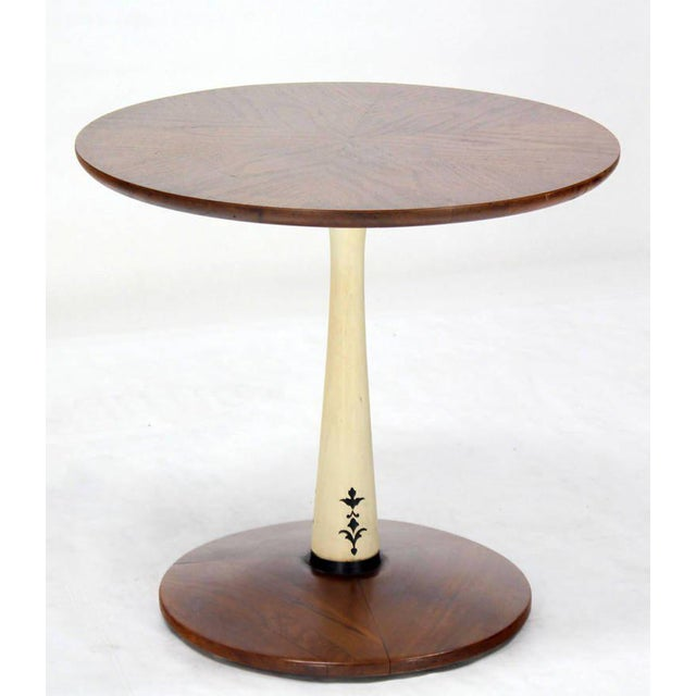 Mid-Century Modern Solid Walnut Weighted Base Round Side Table - Image 2 of 10