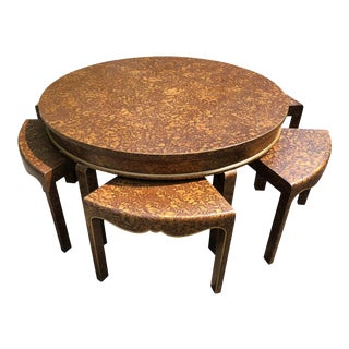 1970s Mid Century Chinoiserie Faux Tortoise Painted Tea Table With Chairs - 7 Pieces For Sale
