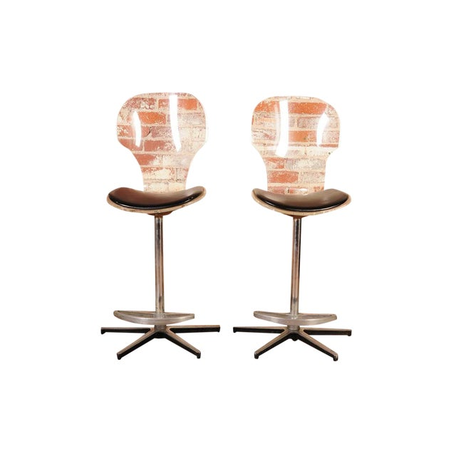 Mid-Century Lucite & Leather Bar Stools - a Pair For Sale