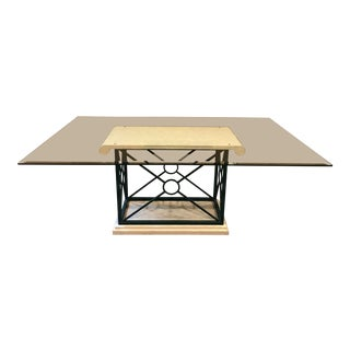 Glass Top Kitchen Table With Dark Green Metal and White Stone Base For Sale