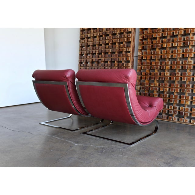 Red Renato Balestra Leather Lounge Chairs for Cinova Italy, Circa 1970 For Sale - Image 8 of 11