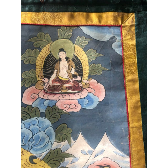 Vintage Buddhist Tibetan Thangka Hand Painted For Sale - Image 4 of 8