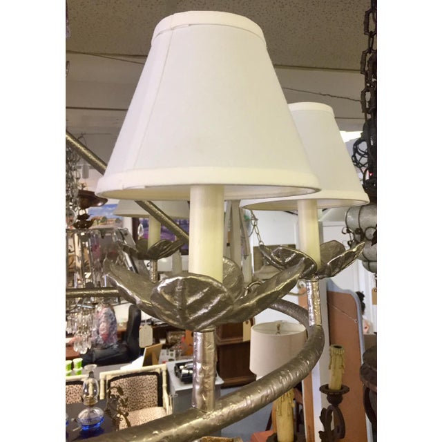 1960s Shabby Chic Vaughn Montferat Hammered Silver Chandelier For Sale - Image 9 of 10