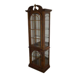 Traditional Cherry Narrow Curio Display Cabinet For Sale