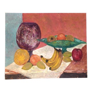 Vintage Oil Painting Still Life of Fruit on the Table