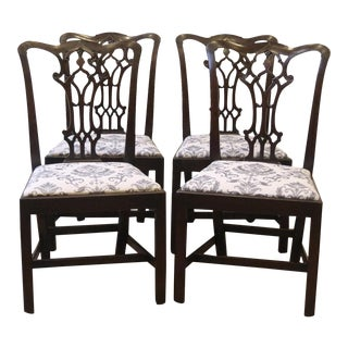 1900s Antique English Carved Chippendale Style Dining Chairs- Set of 4 For Sale