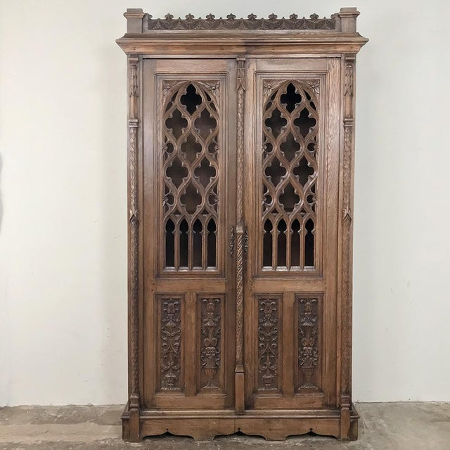 19th Century French Gothic Bookcase ~ Vitrine For Sale - Image 13 of 13
