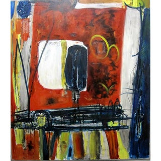 "1962 Clay Walker ""Red Table"" Oil on Canvas"