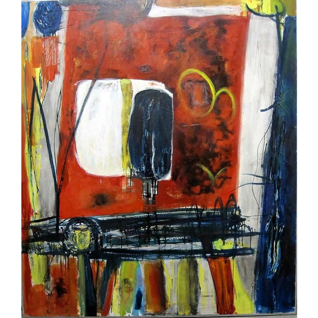 "1962 Clay Walker ""Red Table"" Oil on Canvas - Image 1 of 3"