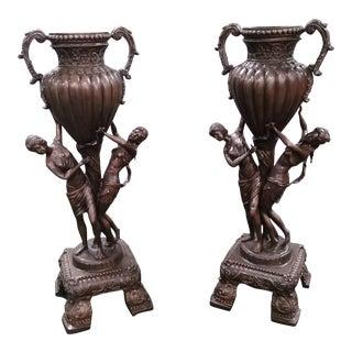 Victorian Era Bronze Urns - a Pair