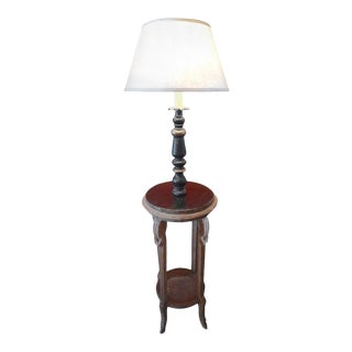 19th Century French Hand-Painted and Hand-Carved Pine Wood Floor Lamp on Pedestal With Bottom Wicker Shelf For Sale