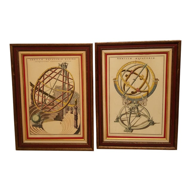Vintage Hand Colored Armillary Prints - a Pair - Image 1 of 7