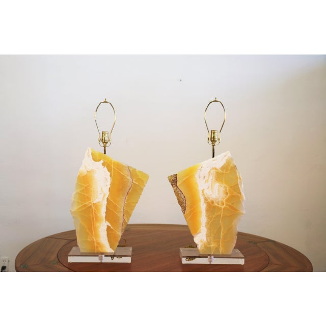Yellow Beautiful Pair of Modern Yellow Marble Table Lamps For Sale - Image 8 of 8