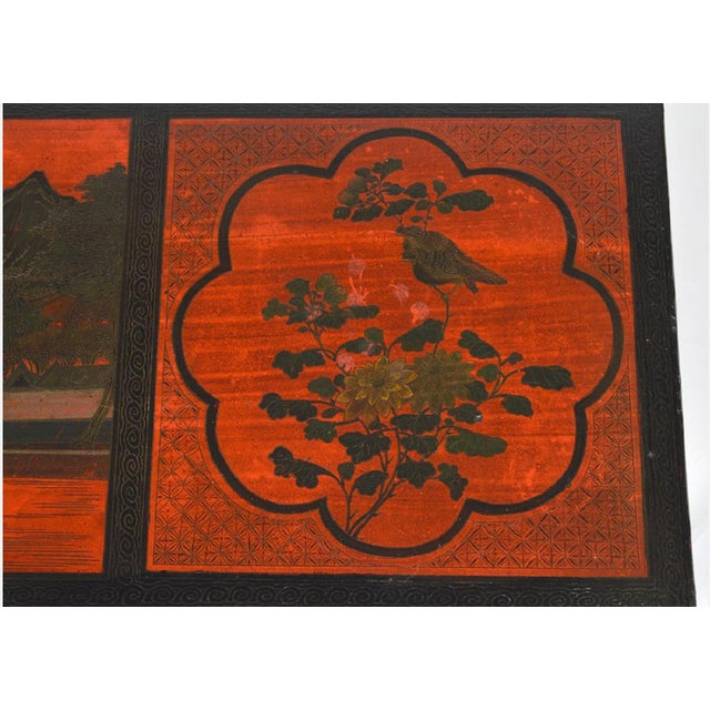 Lacquer Vintage Chinese Red Chinoiserie Lacquer Low Table For Sale - Image 7 of 9