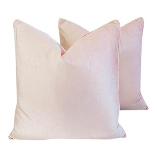 "Champagne Blush Pink Velvet Feather/Down Pillows 24"" Square - a Pair For Sale"