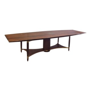 Large Wenge Wood Dining or Conference Table with Bronze Trim