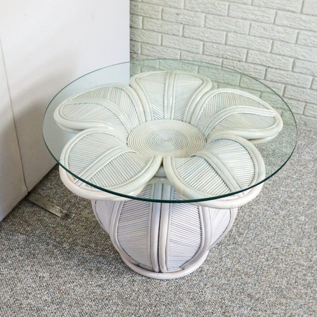 1990s Bamboo Pencil Reed Flower Shaped End Table For Sale - Image 5 of 5