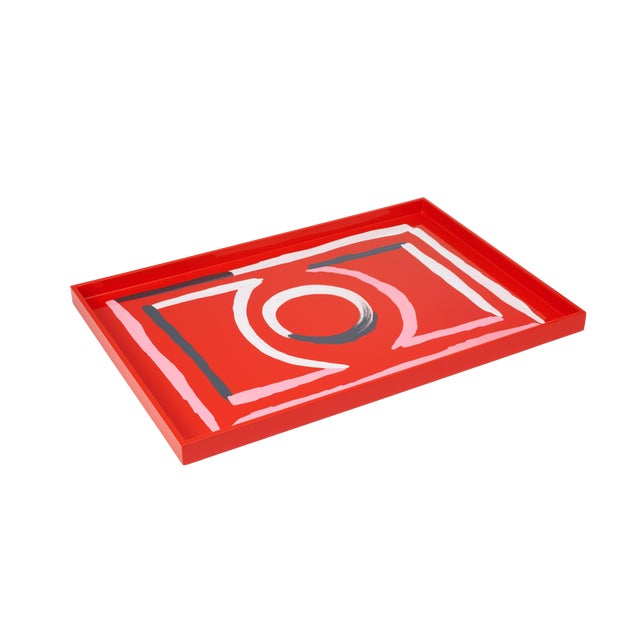 Luke Edward Hall Collection Large Etienne Tray in Red For Sale