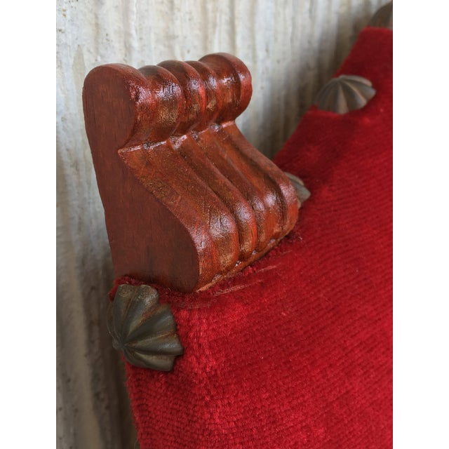 19th Century Spanish Revival High Back Armchair With Red Velvet Upholstery For Sale - Image 12 of 13