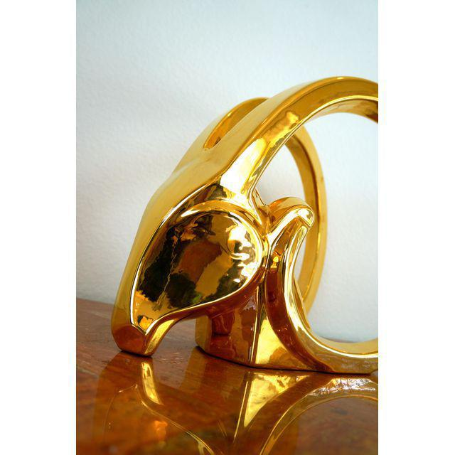 Gold Ibex Rams Head Statue by Jaru For Sale In Las Vegas - Image 6 of 8