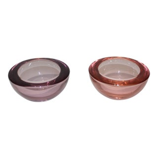 Vintage Glass Votive Candle Holders or Finger Bowls - Set of 2 For Sale