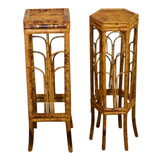 1940s Chinese Tropical Bamboo and Rattan Plant Stands - a Pair