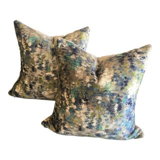 Kravet Couture Italian Painted Velvet Turquoise Pillows (W/ Mushroom Gray Velvet Backing) - a Pair