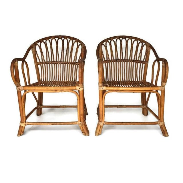 Mid-Century Bamboo Chairs Franco Albini Style Arm Chairs - a Pair - Image 3 of 6