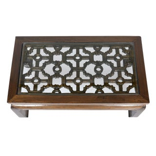 Asian Style Carved Elm Coffee Table For Sale