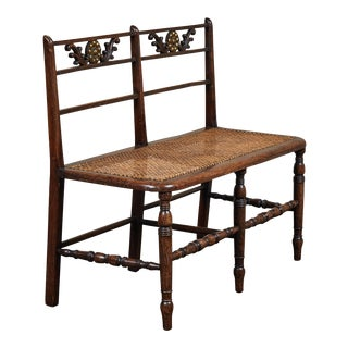 Late 19th C. English Arts & Crafts Rush Seat Wood Bench With Cushion For Sale