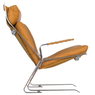 "1960s Vintage Chrome Leather ""Pirate"" Lounge Chair by Elsa & Nordahl Solheim For Sale"