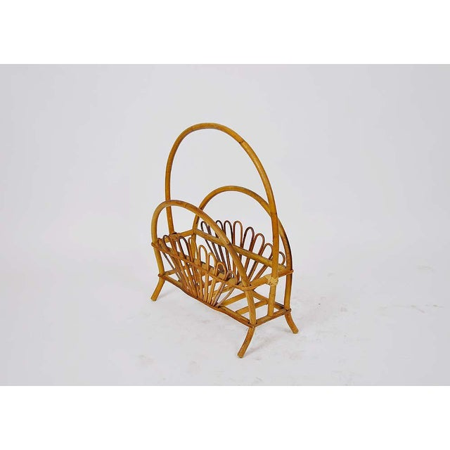 Vintage Bamboo Rattan Magazine Rack For Sale - Image 5 of 6